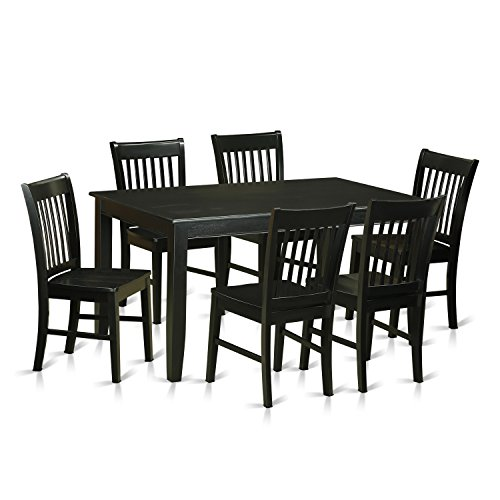 DUNO7-BLK-W 7 Pc Dining room set -Kitchen Table and 6 Dining Chairs
