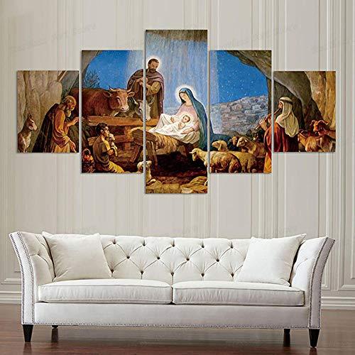 SYXBEIVK Póster de Lienzo Imágenes de decoración del hogar 5 Piezas/Piezas Nacimiento de Jesús Cristiano Pintura de Arte de Pared Sala de Estar Impresa en HD-30x40-30x60x2-30x80cm-Sin Marco