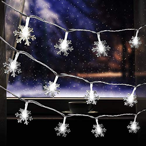 60 LED Fairy Lights 30 Feet White Snowflake Shaped String Light with 8 Flashing Modes Battery Operated Waterproof Window Curtain String Light for Christmas Wall Garden Indoor Outdoor Decor