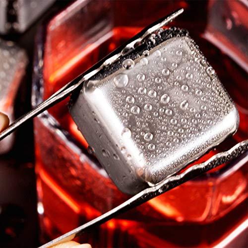 HehiFRlark 304 cubitos de hielo de acero inoxidable con piedras de refrigeración reutilizables para el vino de Whisky, 1 unidad + bolsa OPP