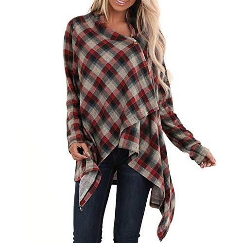 EIJFKNC Jacke Mantel Women Cashmere Cardigan Coat Casual Long Sleeve Plaid Button Cardigans Sweaters Jacket 2019 Autumn Winter Womens Outwear Coat,Brown,XL