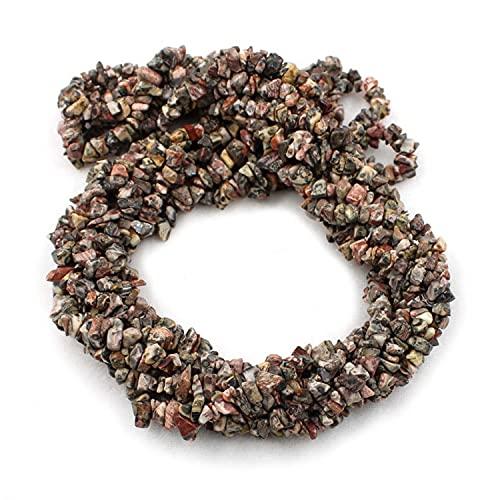 Crystallay 4-5MM de Piedras Preciosas de Jaspe de Leopardo Natural, Cuentas Sueltas de Artesanía de Piedra de viruta Irregular sin Cortar de Cristal para Hacer Joyas, 10 hebra de 36' Pulgadas