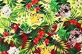 キャラクター生地 ポケットモンスター(ポケモン)ピカチュウ コットン100% シーチング Pocket Monster Tropical Pokemon 45cm X 110cm (Green)