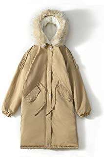 Casual Women's Jacket,Winter Thick Hooded Long-Sleeved Cotton Suit,Medium Long Solid Color Coat (Color : Khaki, Size : L)