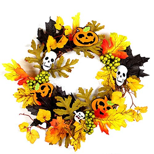12 Inch Pre-Lit Halloween Wreath for Voordeur, Halloween Decorations Ornament Thanksgiving Decoration Simulation Maple Leaf (Color : 02)