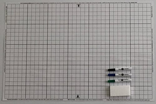 """Dry Erase White Battlemat, 24"""" X 36"""", Double-Sided: 1"""" Squares with 3 Markers and Eraser, for Role Playing Games and Miniatures"""