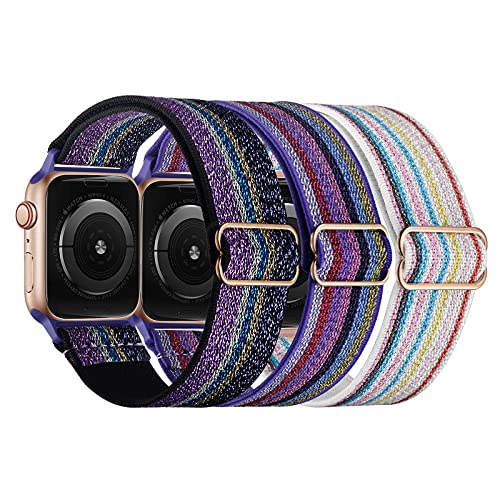 Correa para Apple Watch, Stanchev elástica de nailon Solo lazo ajustable elástico trenzado, para hombre y mujer, compatible con iWatch Series 6/5/4/3/2/1 SE, 3 unidades