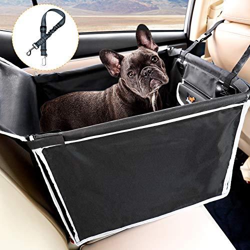 Toozey Hunde Autositz Rückbank mit Robuste Seiten & Hundegurt, Hundeautositz Hundesitz für Kleine Mittlere Hunde, Wasserdicht Autositzbezug mit Tasche, Extrem Langlebig & Einfach zu Installieren