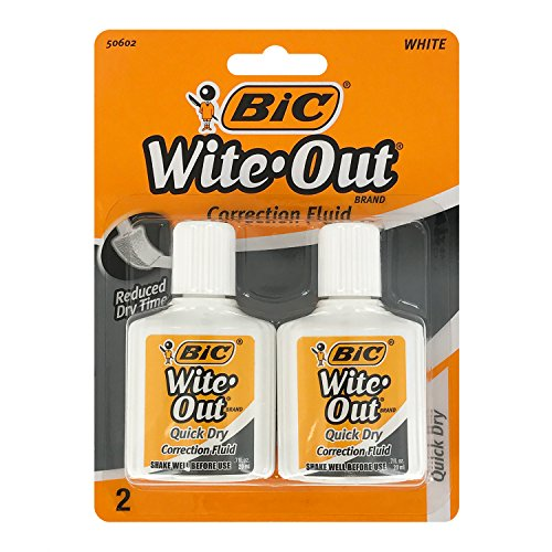 Bic Wite-Out Quick Dry Correction Fluid - 2 pack - white color writeout - white-out