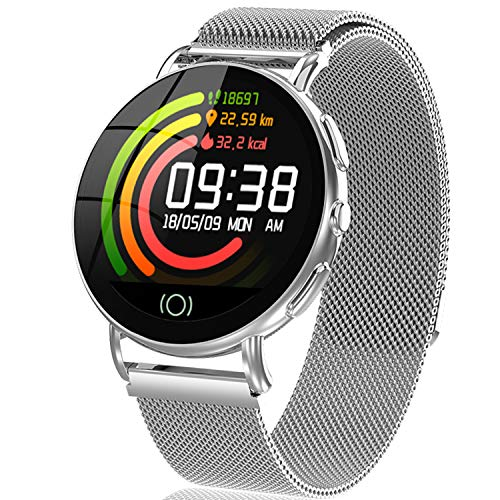 IP67 Waterproof Smart Watch Activity Tracker with All-day Heart Rate Blood Pressure Monitor Sport Smart Watchband for Women Men Best Gift Calorie Step GPS Tracker Fitness Health Watch (Silver)