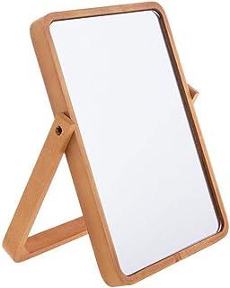 Hosoncovy Miroir de Table en Bois Miroir de Maquillage Miroir de Table avec Support Pliant HD Rectangle Miroir de Salle de...