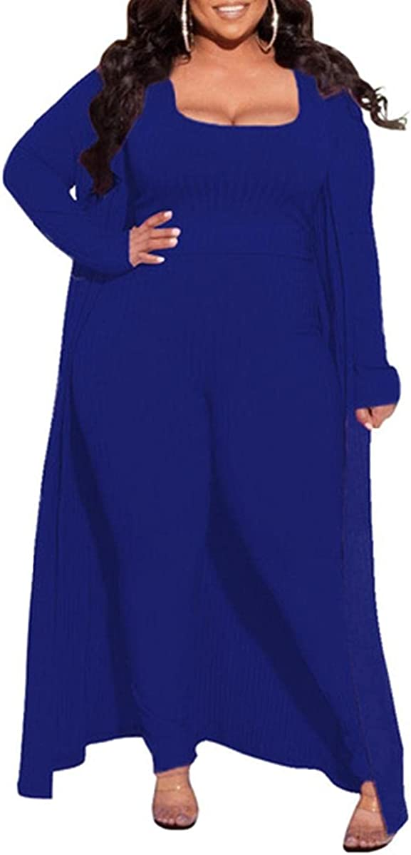 Women's Plus Size 3 Piece Outfits Sexy Ribbing Long Sleeve Open Front Long Coat with Pants Sets