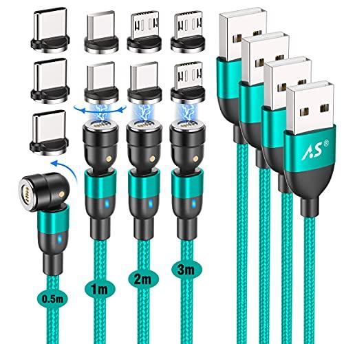 A.S マグネット 充電ケーブル 3in1 [4本セット] USB C 磁気 ケーブル QC3.0急速充電とデータ転送 マグネット 充電器 タイプC マイクロ USBデバイス用の360°+180°回転 ナイロン編組 (グリーン)