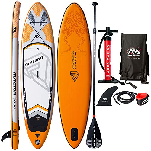 Aqua Marina Magma Inflatable Stand Up Paddle Board 10'10' (6' Thick) | Includes Double Action Pump, Magic Backpack, Slide-in Center Fin, Sports III Paddle, Safety Leash