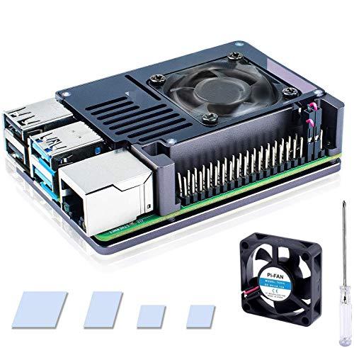 Bruphny Raspberry Pi 4 Caja, Raspberry Pi 4B Caja de Aluminio con 35mm Ventilador, Compatible con Raspberry Pi 4 Modelo B - Gris Espacial y Marrón (Solo para 4B)