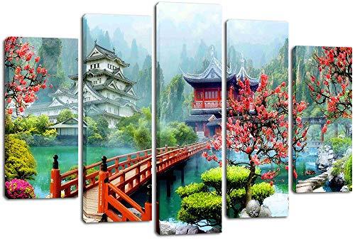 GTomorrow Leinwandbilder Bild Garten Pavillon Brücke Blick 150X80Cm(A) 5-Teiligen Leinwand Vlies Wandbild Kunstdruck Wanddeko Wand Wohnzimmer Wanddekoration Deko