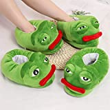 Very Bad Sad Frog Slippers Cotton Slippers Frog Cartoon Cotton Plush Slippers Home Indoor Green Shoes Zhaozb (Color : Pink, Size : 9)