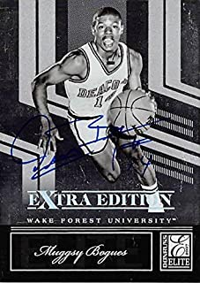 Muggsy Bogues autographed basketball card (Wake Forest Deamon Deacons) 2007 Donruss Elite Extra #90