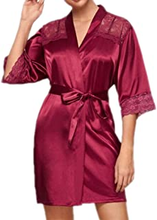 Ladies Nightdress, Party Dressing Gown, lace Robe, mid-Length V-Neck Cardigan Dressing Gown, Casual Home wear, Belt Design, Soft and Comfortable (Color : Red, Size : XXXXL)