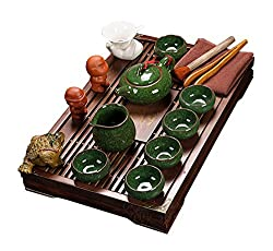 ufengkeExquisite Ceramic Porcelain Kungfu Tea Cup Set with Lid and Wooden Tea Tray-H