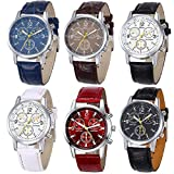 Yunanwa 6 Pack Men's Leather Quartz Watch Geneva Boys Casual Dress Wrist Band Watches Wholesale Lots Set (6pcs-C005)