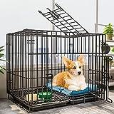 DXIN Jaula para Perros, Parque Interior para Perros/Cachorros con Base, para Un Fácil Montaje Jaula Perros, Jaulas De Transporte En Coche con Bandeja Y Lavable (Color : Black, Size : 61 * 42 * 50cm)