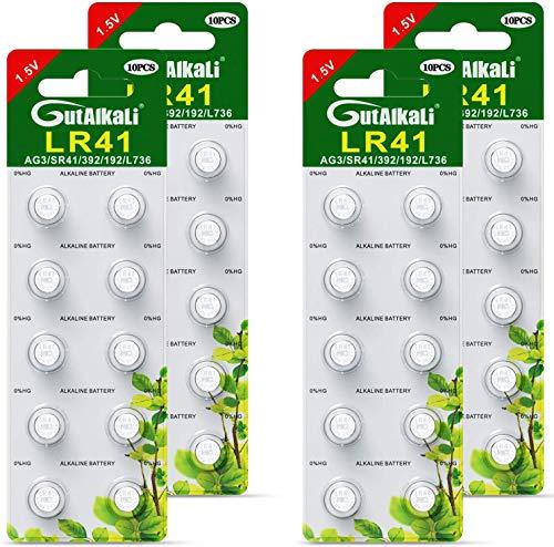 GutAlkaLi 40 Stück AG3 LR41 1.5V Alkaline Knopfzelle Batterien Ohne Quecksilber Knopfzellen