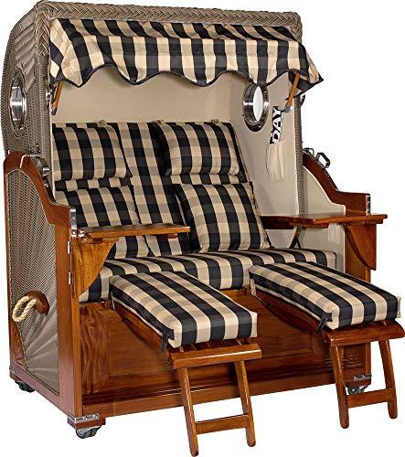 foolonli Strandkorb 2,5 Sitzer aufgebaut Blau Weiß kariert mit Bullauge Mahagoni Holz XXL