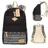 Neuleben Schulrucksack + Kühltasche + Mäppchen Schultaschen 3 Set aus Canvas für Jungen Mädchen Schule Freizeit (Schwarz) - 6