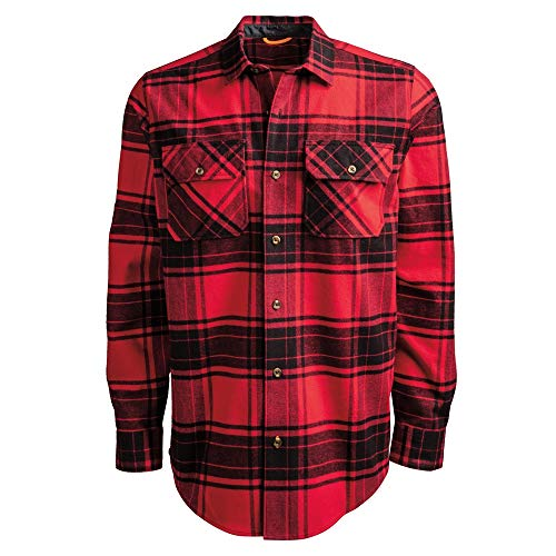 Timberland PRO Men's Woodfort Heavy-Weight Flannel Work Shirt, Classic Red/Black Check, XXL