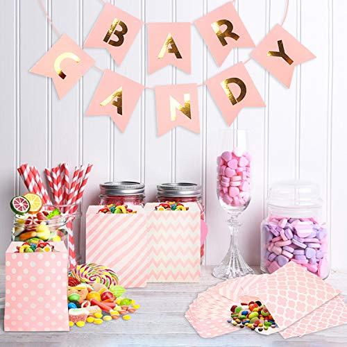 Candy Bar Decoracion 100 Pcs,Candy Bar Comunion,Candy Bar Accesorios,Bolsas Chucherías con Banner y Guirnalda,Sobres Regalos Niña Niño,Cumpleaños Party Boda Comunión Bolsa de Chuches Pequeias