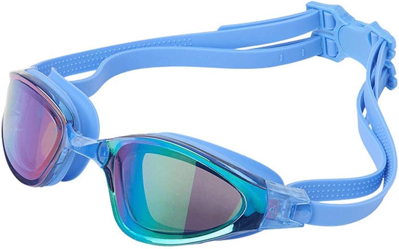 1 Piece Swimming Goggles Plating Flat Light Myopia Large Frame Waterproof AntiFog and AntiUV Swimming Glasses Swimming Equipment Supplies