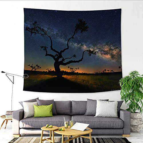 Sternenhimmel großer Baum Mond Dekoration Wandteppich hängen Stoff Hintergrund Stoff Dekoration Wandbehang Wandbild Sofa Handtuch