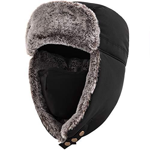 Unigear 飛行帽 防寒帽子 パイロットキャップ 防風防寒 肌触り良い 調節可能 ロシア帽子 マスク 耳あて付き スキー アウトドア 登山 男女兼用 54〜60cm (ブラック)