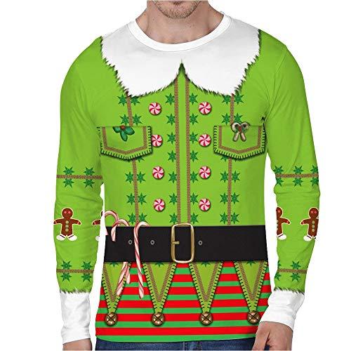 FRAUIT Heren 3D Faux Real druk Pullover hemd mannen Faux Red Christmas pak en stropdas Photorealistic T-shirt met lange mouwen