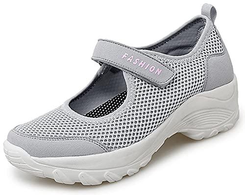 Vorgelen Sandalias Deportivas de Mujer Malla Ligero Plataforma Zapatillas Mary Jane Casual Cómodas Respirable Sneakers para Deportes Fitness Correr Trabajar