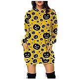 Lenfeshing Vestido con Capucha Y Estampado de Halloween para Mujer Sudadera de Manga Larga con Bolsillos Sueltos