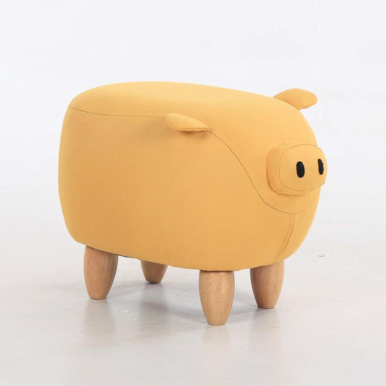 Xueshengshangmaoo Footstool Stool Solid Wood, Home, Linen Decorative Furniture Comfortable, Animal Bar Stool Indoor Outdoor (color   Yellow, Size   50x34x37cm(20x13x15inch))