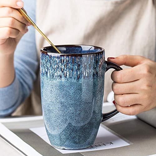 tywgb 600Ml Europäische Retro Keramik Hohe Tasse Blaue Kaffeetasse Mit Handgriff Großraum Haushaltsbüro Trinkbecher Und Tassen Geschenke-Dark_Blue_600Ml