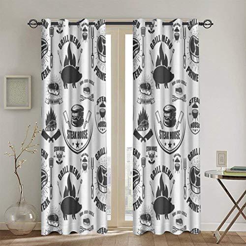LISUMAL blickdichte Gardine mit Ösen und stilvollem 116x183cm,Muster mit Steak House Symbols Grill,Vorhang für Schlafzimmer, Wohnzimmer und viele weitere Räume