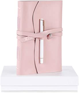 Cute Pink Leather Lined Writing Journal Notebook Diary For Women – Inspirational Gifts for Women, Best Gifts for Her to Write In, Teenage Girl Gifts Plus Fancy Rose Gold Pen Set