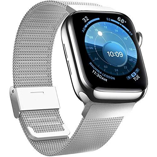 Jinlida Compatible avec Apple Watch Bracelet,Bracelet de Remplacement en Boucle Inoxydable Respirant Flexible Compatible iWatch Series 6/5/4/3/2/1/SE(Argent 42MM 44MM)