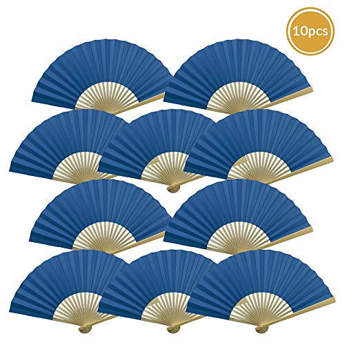 "Quasimoon 9"" Dark Blue Paper Hand Fans for Weddings, Premium Paper Stock (10 Pack) by PaperLanternStore"