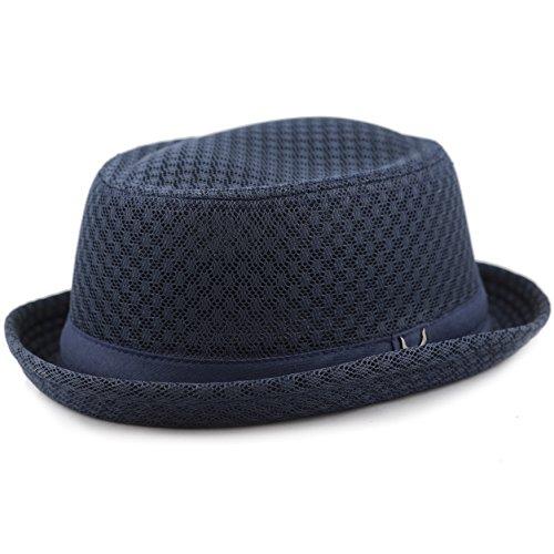 The Hat Depot Light Weight Classic Soft Cool Mesh Porkpie hat (S/M, Navy)