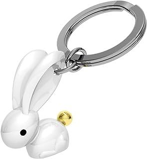 Lapin Porte-Clés Bunny Blanc Hematite or métal Rabbit Pâques 068-01