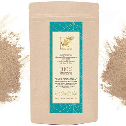 Simply Bioty Lavaerde 1kg original Ghassoul - Bio vegane Wascherde Tonerde - Mineralische Gesichtsmaske Haarwäsche - natürliches Peeling