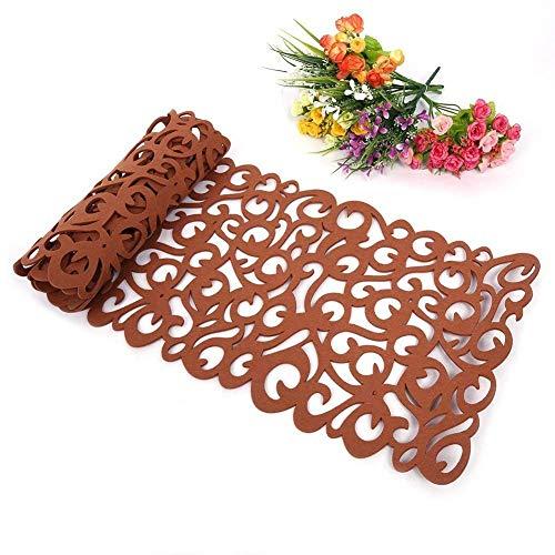 Camino de mesa, la flor hueco Tischband Mantel almohadilla de fondos de pantalla Coaster Decorar su habitacion lavables, 100 x30cm (marron)