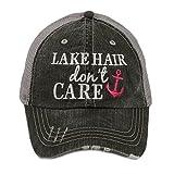KATYDID Lake Hair Don't Care Baseball Cap - Trucker Hats for Women - Stylish Cute Sun Hat (Pink Anchor)
