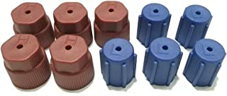 10pcs AC R134a Cap A/C Cap Black Air Conditioning Service Charging Port Caps R134a AC System Leakproof Hat 13mm Low Side & 16mm High Side Low Pressure and High Pressure10pc/set (5Red High & 5Blue Low)