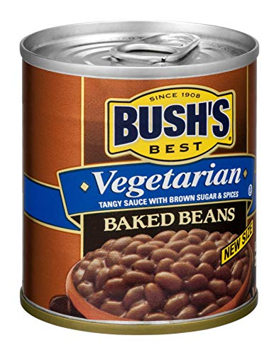 Bush's Best Vegetarian Baked Beans, Canned Beans, Baked Beans Canned, Vegetarian Food, Kosher, Source of Plant Based Protein and Fiber, Low Fat, Gluten Free, 8.3oz (Pack - 12)